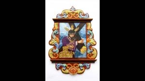 Templete religioso de cerámica de Jesús con la cruz